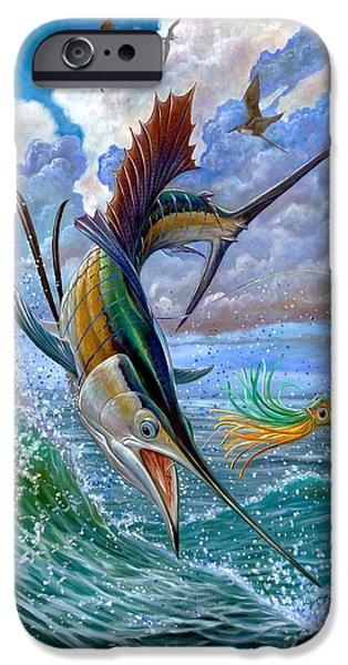 Sailfish Paintings iPhone Cases - Sailfish And Lure iPhone Case by Terry Fox