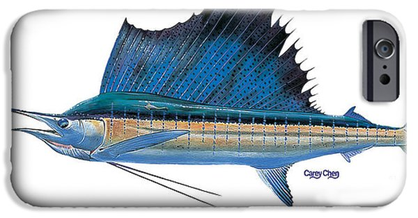 Sailfish Paintings iPhone Cases - Sailfish iPhone Case by Carey Chen