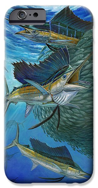 Sailfish Paintings iPhone Cases - Sailfish With A Ball Of Bait iPhone Case by Terry  Fox