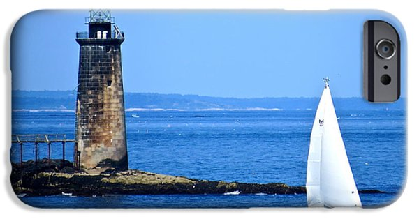 Midcoast iPhone Cases - Sailing By Ram Island Light iPhone Case by Nancy Patterson