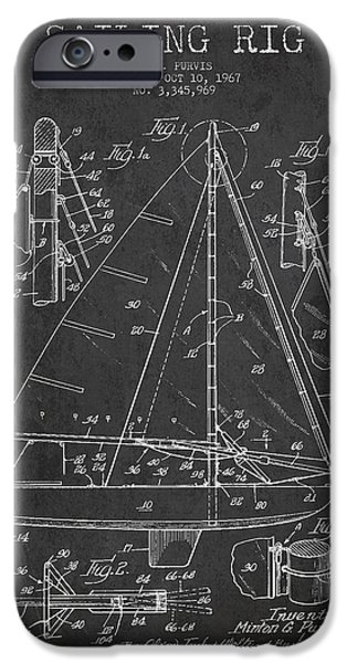 Sailboat Digital Art iPhone Cases - Sailing Rig Patent Drawing From 1967 iPhone Case by Aged Pixel