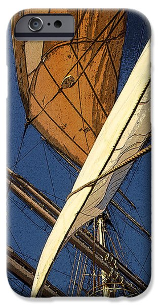 Tall Ship Mixed Media iPhone Cases - Sails Set iPhone Case by Anthony Dalton