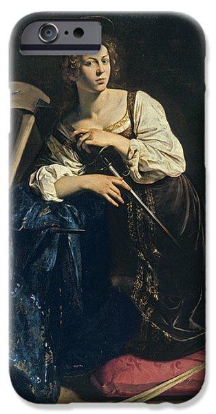 Caravaggio Paintings iPhone Cases - Saint Catherine of Alexandria iPhone Case by Caravaggio