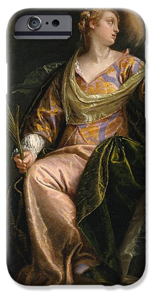 Prison Paintings iPhone Cases - Saint Catherine of Alexandria in Prison iPhone Case by Paolo Veronese