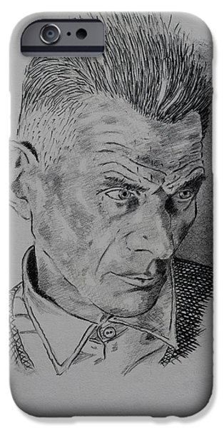 Pencil Portrait Drawings iPhone Cases - Samuel Beckett iPhone Case by John  Nolan