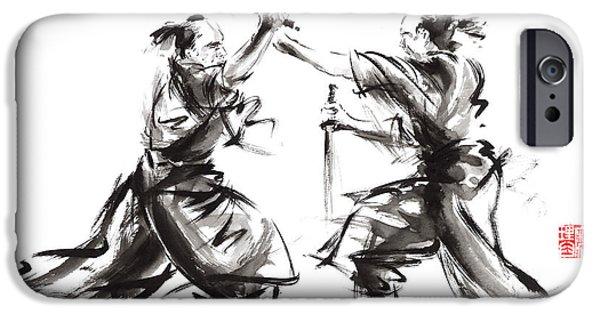Yin Paintings iPhone Cases - Samurai sword bushido katana martial arts budo sumi-e original ink sword painting artwork iPhone Case by Mariusz Szmerdt