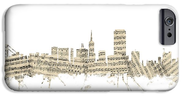 Sheets iPhone Cases - San Francisco Skyline Sheet Music Cityscape iPhone Case by Michael Tompsett