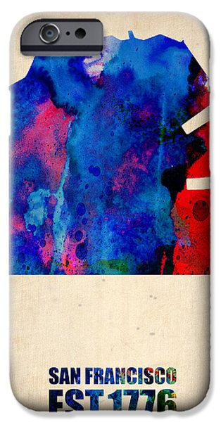 San Francisco iPhone Cases - San Francisco Watercolor Map iPhone Case by Naxart Studio