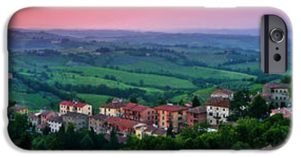 Historic Site iPhone Cases - San Gimignano Sunset Panorama iPhone Case by JR Photography