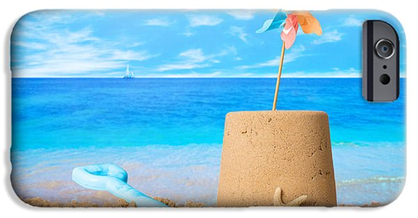 Sandcastles iPhone Cases - Sandcastle On Beach iPhone Case by Amanda And Christopher Elwell