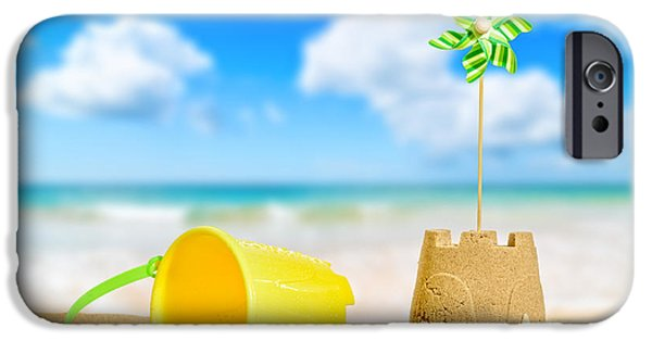 Sandcastle iPhone Cases - Sandcastle On The Beach iPhone Case by Amanda And Christopher Elwell