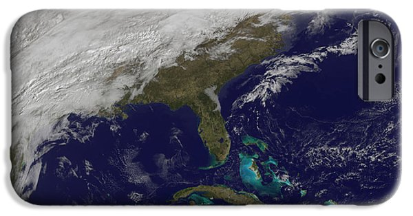 Winter Storm iPhone Cases - Satellite View Of A Major Winter Storm iPhone Case by Stocktrek Images