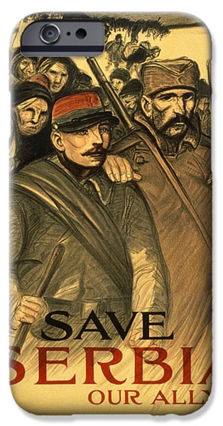 People Drawings iPhone Cases - Save Serbia Our Ally iPhone Case by Theophile Alexandre Steinlen