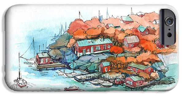 Norway Drawings iPhone Cases - Scandinavia iPhone Case by Olga Aksenova