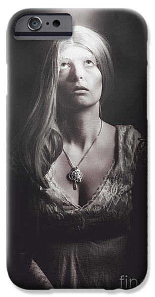 Fears Psychic iPhone Cases - Scared woman trapped down in a dark dungeon iPhone Case by Ryan Jorgensen