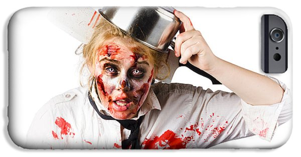Dismay iPhone Cases - Scary cook making mess with jam iPhone Case by Ryan Jorgensen