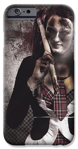 Haunted Schools iPhone Cases - Scary zombie school student holding monster pencil iPhone Case by Ryan Jorgensen