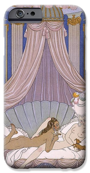 Pleasure iPhone Cases - Scene from Les Liaisons Dangereuses iPhone Case by Georges Barbier