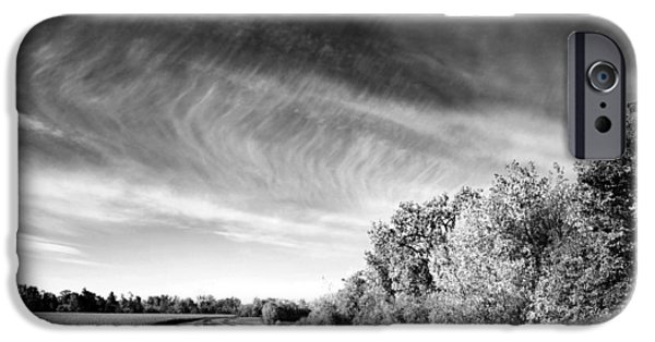 Field. Cloud iPhone Cases - Scenic Road Through Autumn Landscape iPhone Case by Donald  Erickson