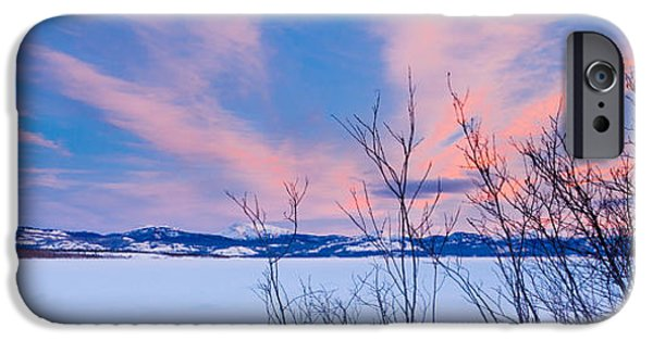 Willow Lake iPhone Cases - Scenic winter at frozen Lake Laberge Yukon Canada iPhone Case by Stephan Pietzko