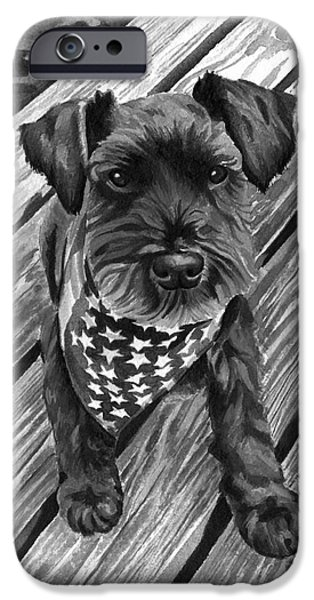 Independence Day Paintings iPhone Cases - Ragnar Black Dog iPhone Case by Robyn Saunders