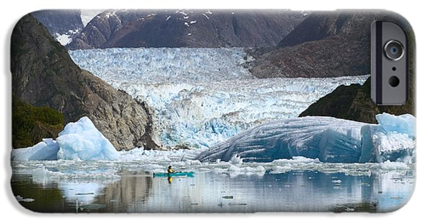 Tongass iPhone Cases - Sea Kayaker Near S.sawyer Glacier Tracy iPhone Case by Michael DeYoung
