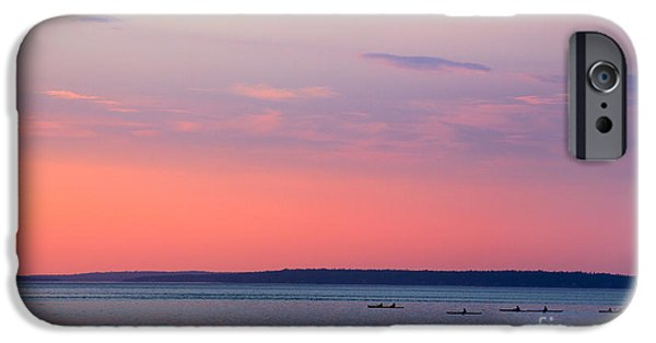 Kayak iPhone Cases - Sea Kayakers in Frenchman Bay Maine iPhone Case by Diane Diederich