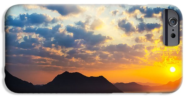 Sunrise iPhone Cases - Sea of clouds on sunrise with ray lighting iPhone Case by Setsiri Silapasuwanchai