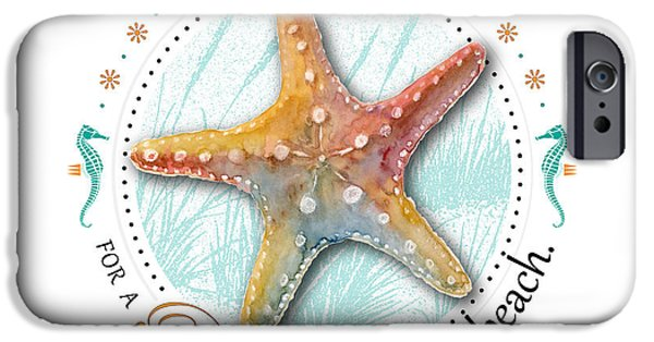Sea Horse iPhone Cases - Sea stars align for a perfect day at the beach iPhone Case by Amy Kirkpatrick