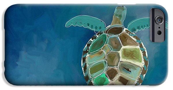 Ocean Turtle Paintings iPhone Cases - Sea Turtle iPhone Case by Cathy Walters