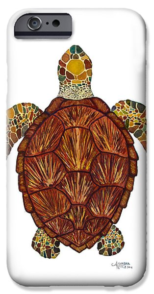 Recently Sold -  - Nature Abstract iPhone Cases - Sea Turtle Mosaic  iPhone Case by Alexandra Nicole Newton