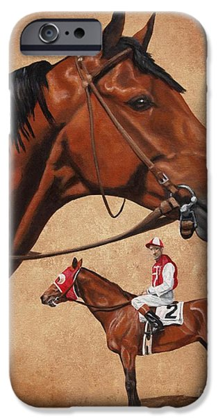 Horse Racing iPhone Cases - Seabiscuit iPhone Case by Pat DeLong