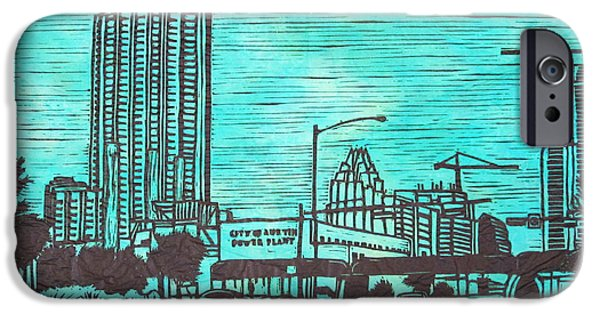 Powerlines Drawings iPhone Cases - Seaholm iPhone Case by William Cauthern