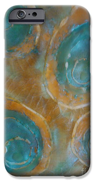 Pastel Tapestries - Textiles iPhone Cases - Searching for Teal 002 iPhone Case by Lori Russell