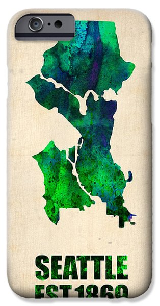 Seattle iPhone Cases - Seattle Watercolor Map iPhone Case by Naxart Studio