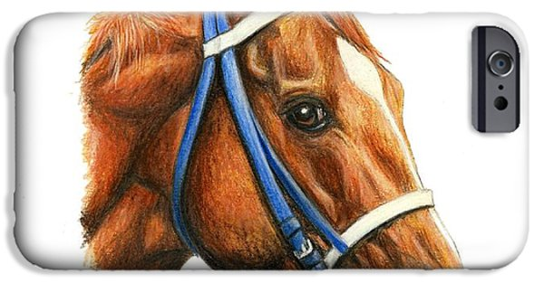 Horse Racing iPhone Cases - Secretariat with racing bridle iPhone Case by Pat DeLong