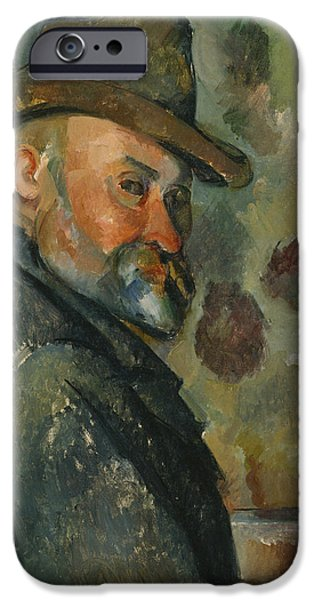 ist Self Portrait Paintings iPhone Cases - Self-Portrait with a Hat iPhone Case by Paul Cezanne
