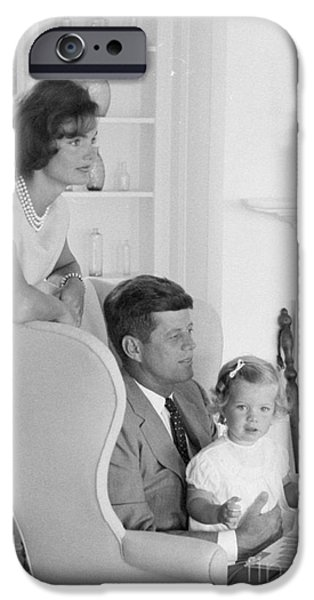 First Lady iPhone Cases - Senator John F. Kennedy with Jacqueline and Caroline iPhone Case by The Phillip Harrington Collection