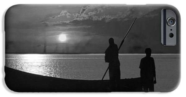 Virtual Mixed Media iPhone Cases - Serenity of the nature in Congo 2 boat men calling it a day at the sunset who knew it could be so pe iPhone Case by Navin Joshi