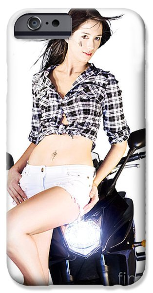 Tom Boy iPhone Cases - Sexy Biker Girl iPhone Case by Ryan Jorgensen