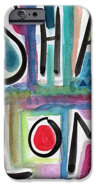 Signed Mixed Media iPhone Cases - Shalom iPhone Case by Linda Woods
