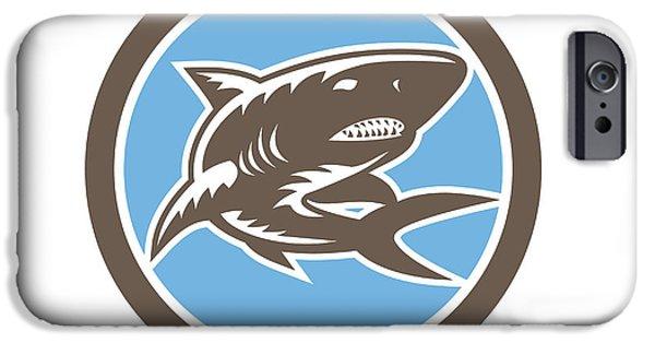Shark iPhone Cases - Shark Swimming Up Woodcut Retro iPhone Case by Aloysius Patrimonio