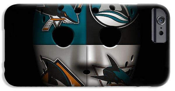 Shark iPhone Cases - Sharks Goalie Mask iPhone Case by Joe Hamilton