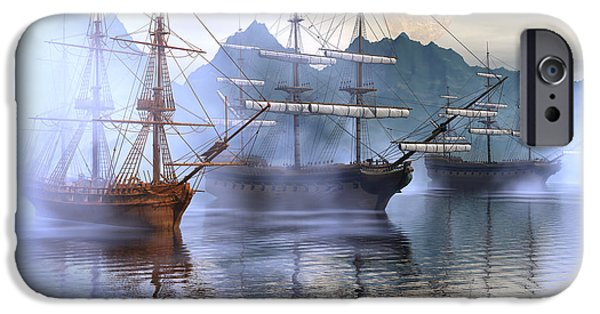 Tall Ship Digital iPhone Cases - Shelter harbor iPhone Case by Claude McCoy
