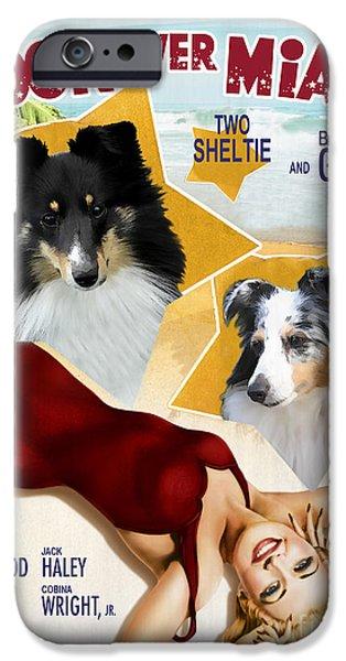Sheltie iPhone Cases - Sheltie - Shetland Sheepdog Art Canvas Print - Moon Over Miami Movie Poster iPhone Case by Sandra Sij