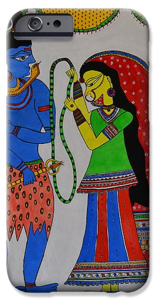 Parvati Paintings iPhone Cases - Shiv Parvati iPhone Case by Shruti Shubham