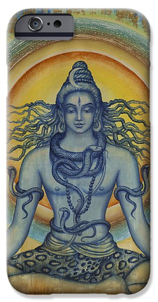 Parvati Paintings iPhone Cases - Shiva iPhone Case by Vrindavan Das