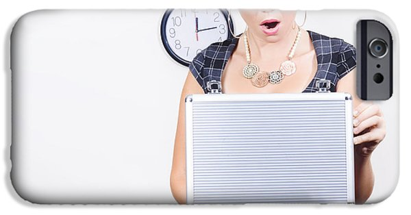 Dismay iPhone Cases - Shocked Accounting Employee Holding Open Briefcase iPhone Case by Ryan Jorgensen