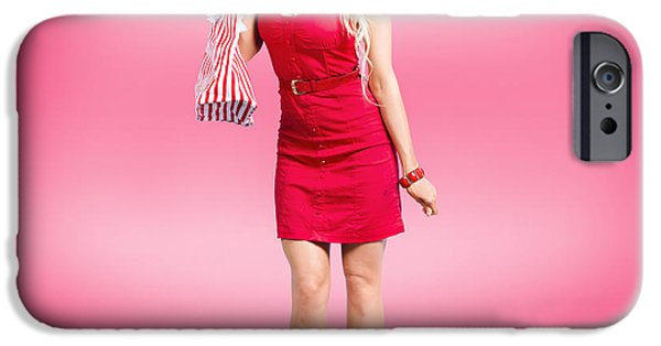 Youthful iPhone Cases - Shop till you drop. Female retail shopper in red iPhone Case by Ryan Jorgensen