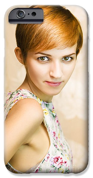1950s Portraits iPhone Cases - Short Haired Girl In Floral Dress iPhone Case by Ryan Jorgensen